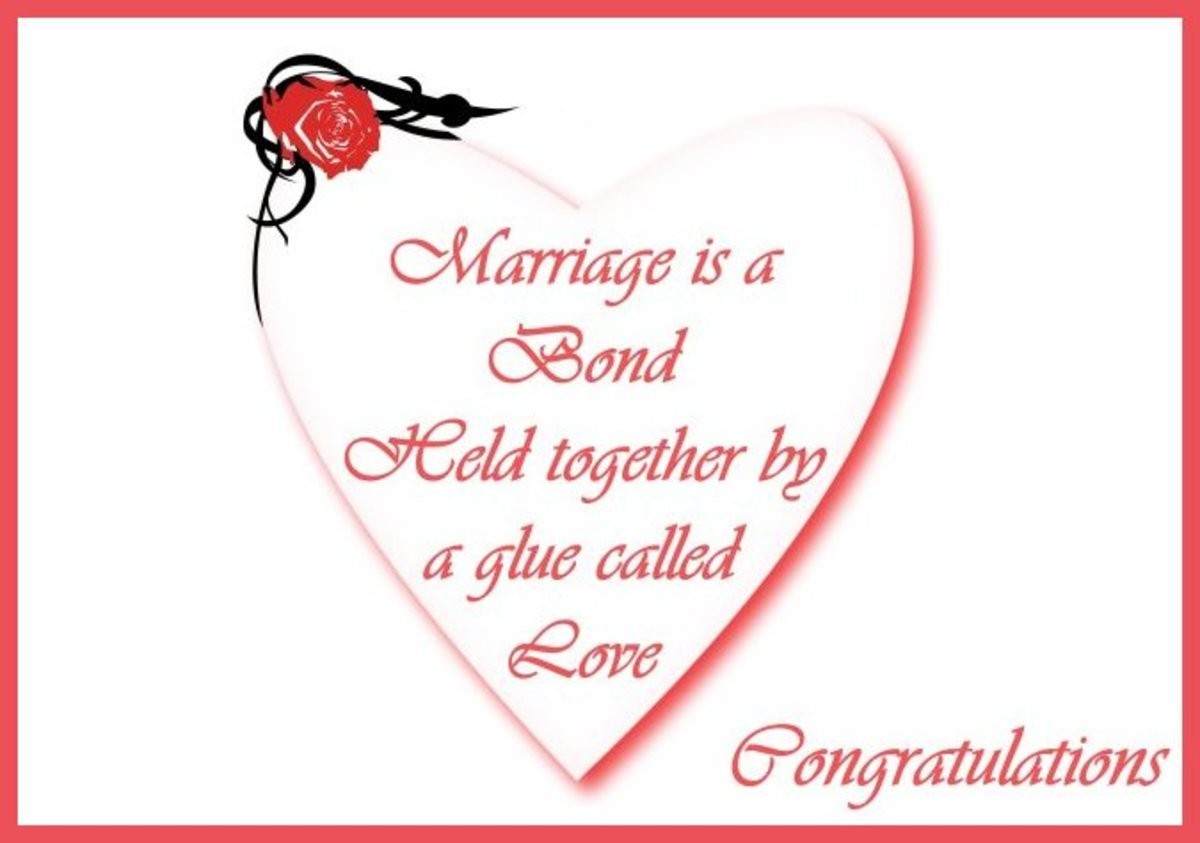 Heart shaped wedding card: Marriage is a bond held together by a glue called love.