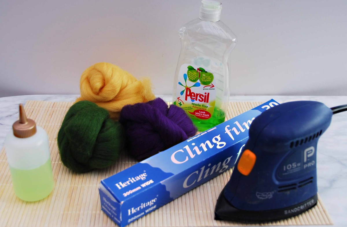 Things needed for felting with an electric sander