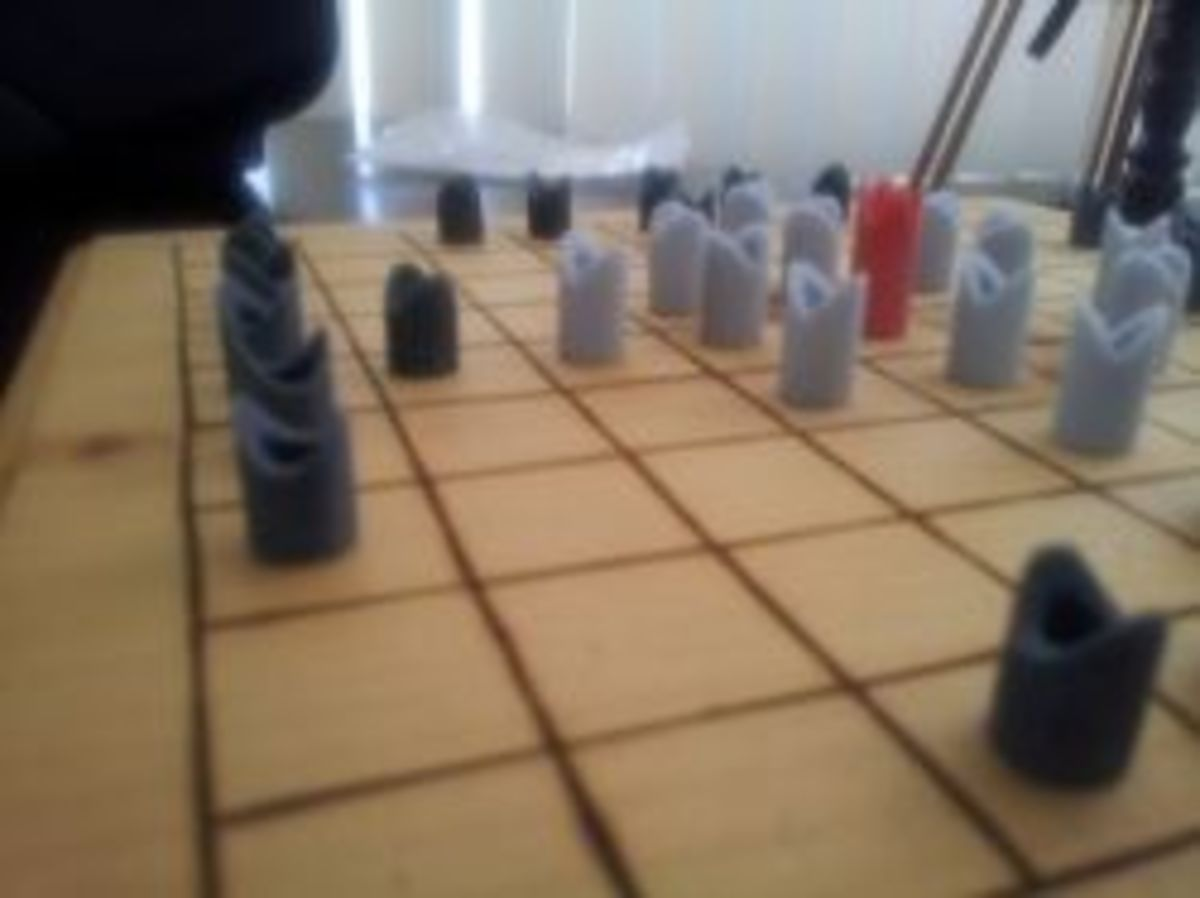 A hnefatafl board I made, pieces are 3d printed in sandstone