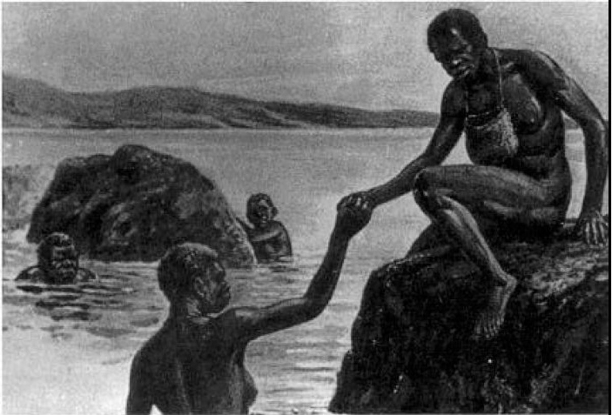 Tasmanian Aborigine women foraging for marine food