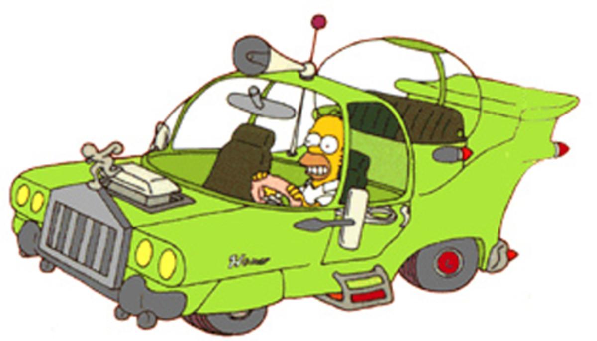 Homer driving his concept car