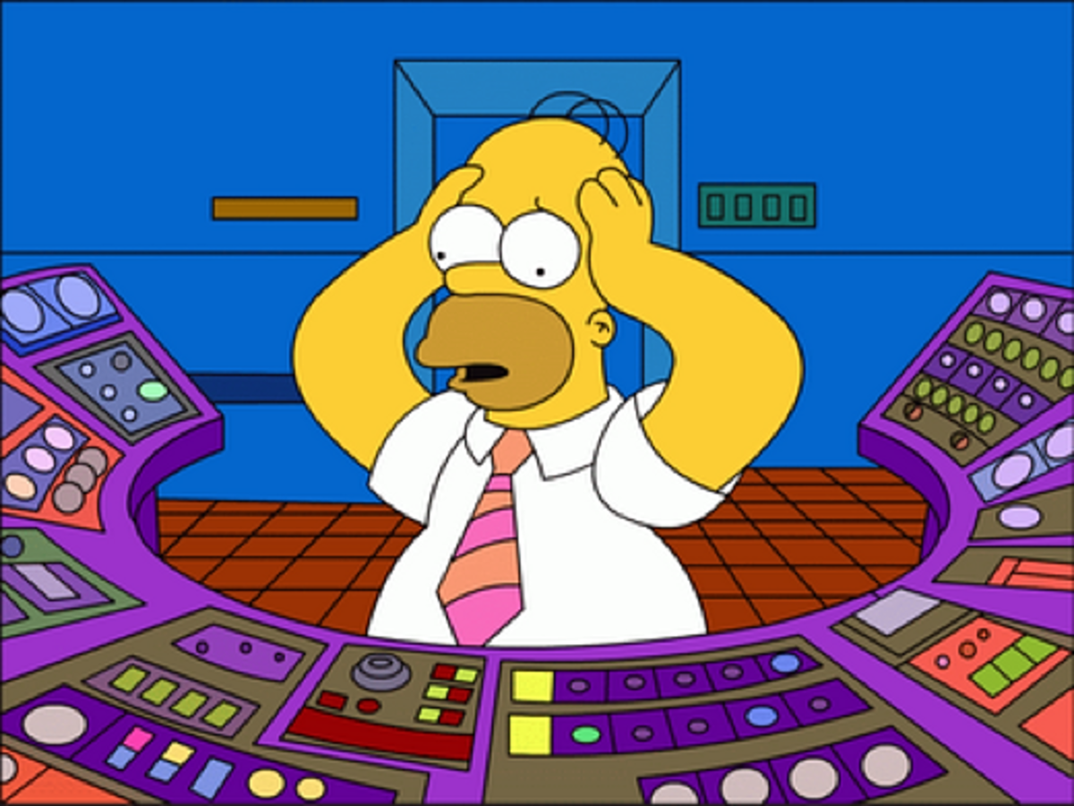 Homer on duty at the Springfield Nuclear Power Plant
