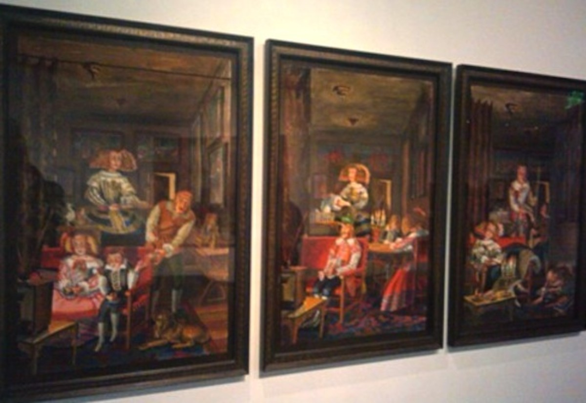 """M.Louise Stanley's triptych """"The Functional Family (after Velazquez)"""" Photo by Corinna Nicole"""