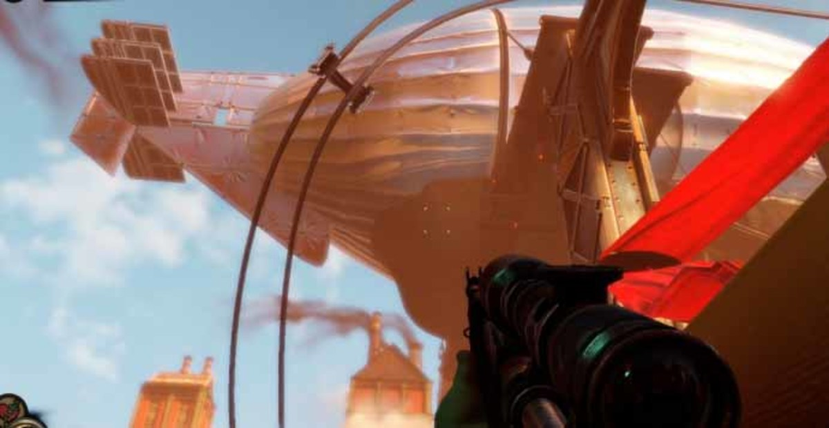 Bioshock Infinite get to the zeppelin with the skyline and take out the zeppelin