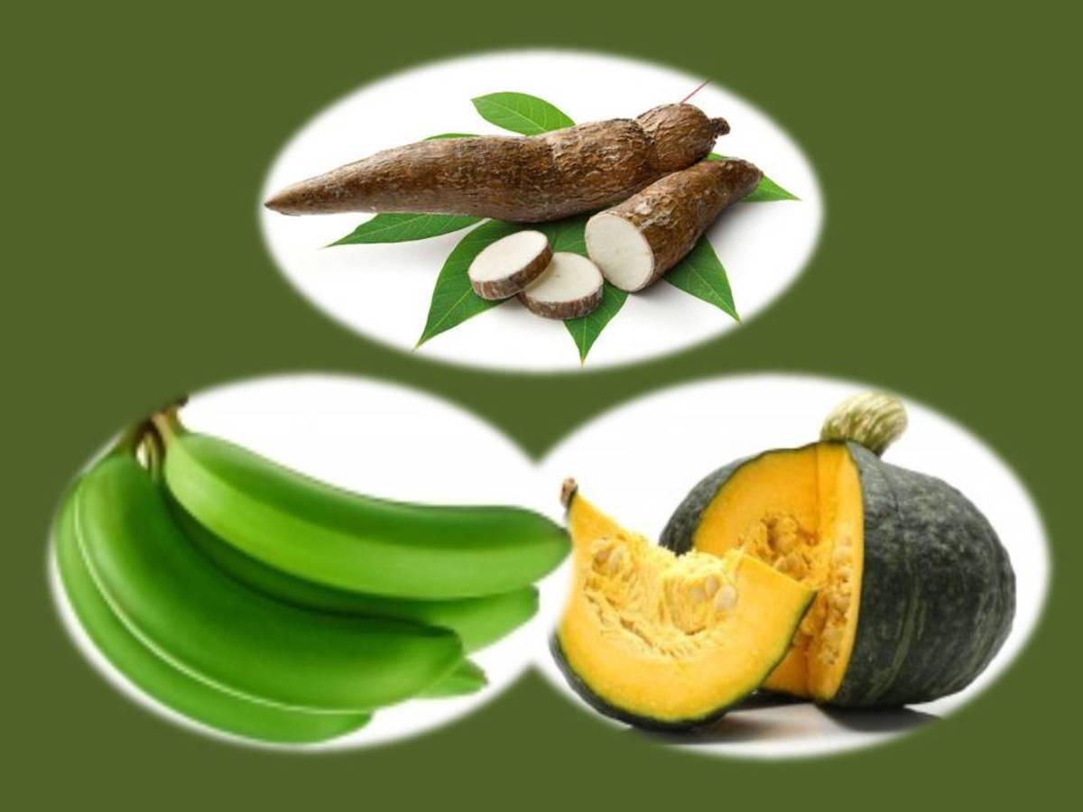 Taro (yucca), Pumpkins, Bananas