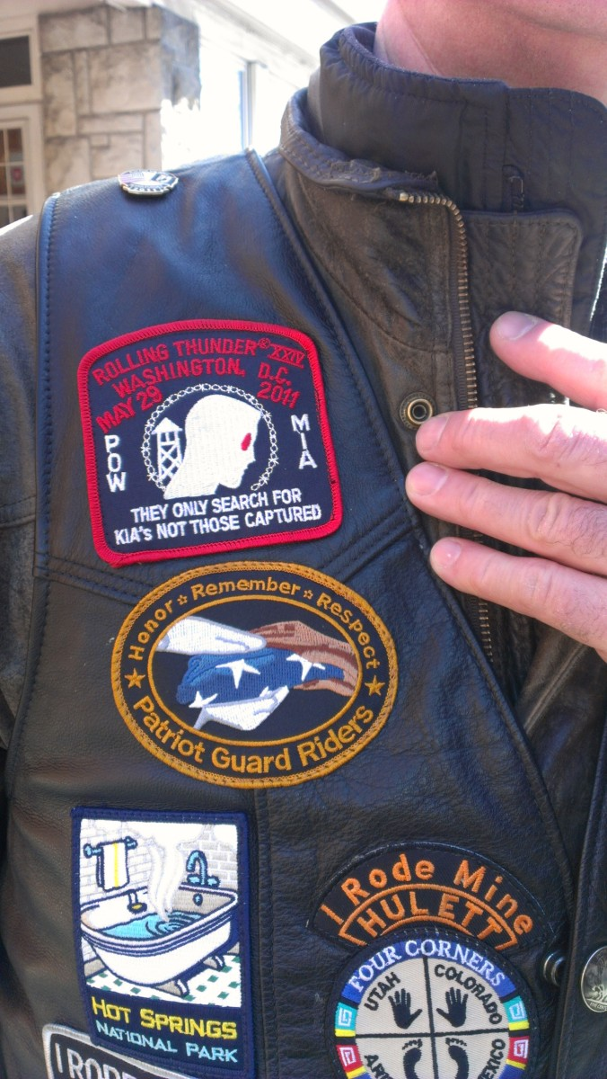 Mark sports his PGR patch. Patriot Guard Riders can purchase patches, but the Patriot Guard patches like Big John's (above)  are awarded only when a rider takes part in their first escort ride.
