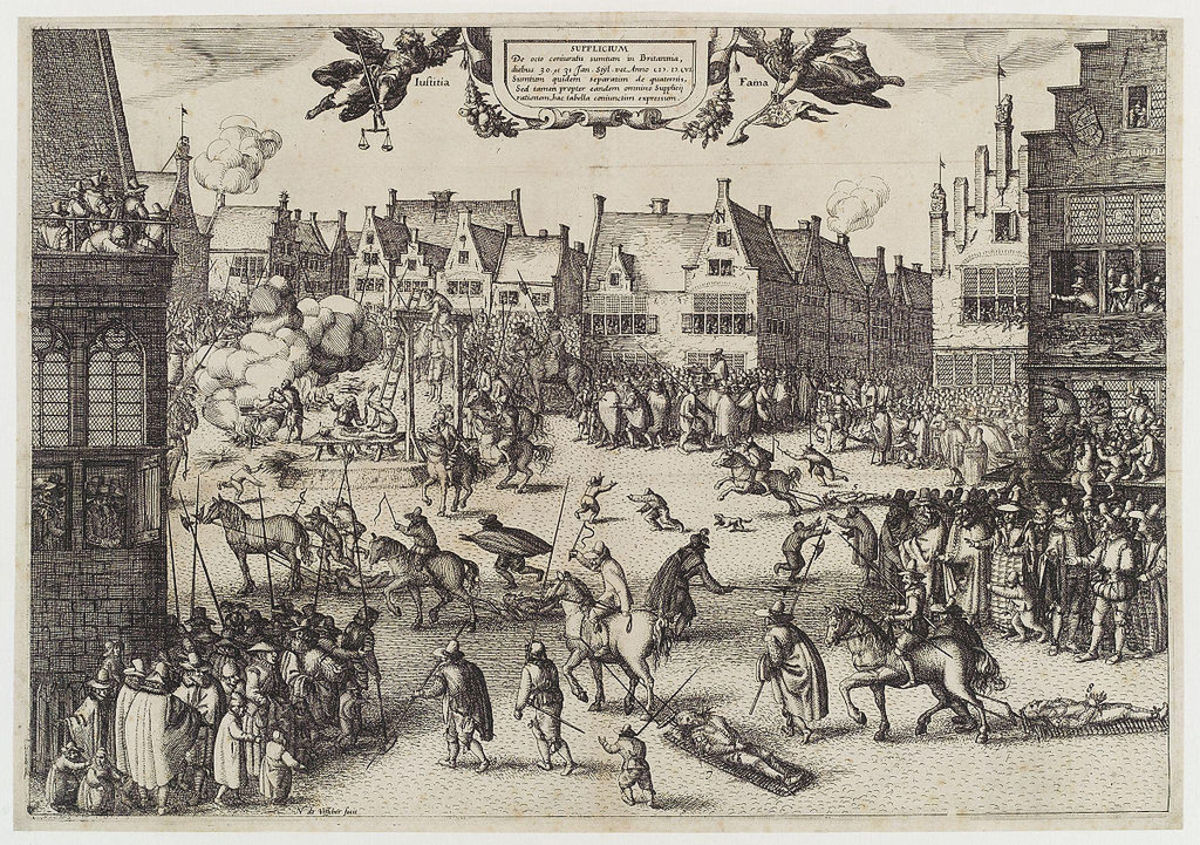Print by Claes (Nicolaes) Jansz Visscher of Fawkes as well as Wintour, Rookwood and Keyes being dragged on wicker hurdles to the place of execution - Fawkes is said by some to have leapt off the scaffold with the noose around his neck.
