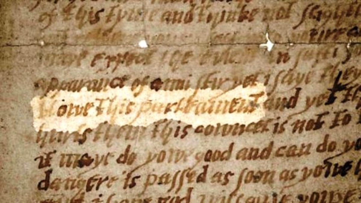 Extract of the letter to Lord Monteagle warning of the plot to kill King James ! (James VI of Scotland)