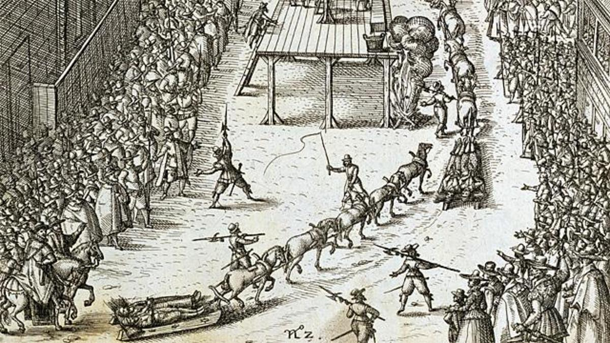 In these days when the general public could watch the high and mighty being reduced to below their level - Guy Fawkes being literally carted to the site of punishment at the Old Palace Yard, Westminster, (hanging, drawing and quartering)
