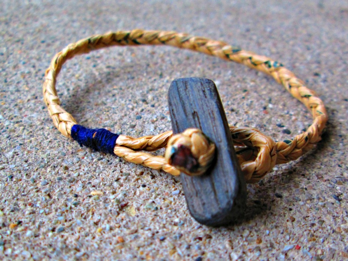Handcrafted Bracelet made from plarn looks like natural fiber when natural colored bags are used to make the plarn.