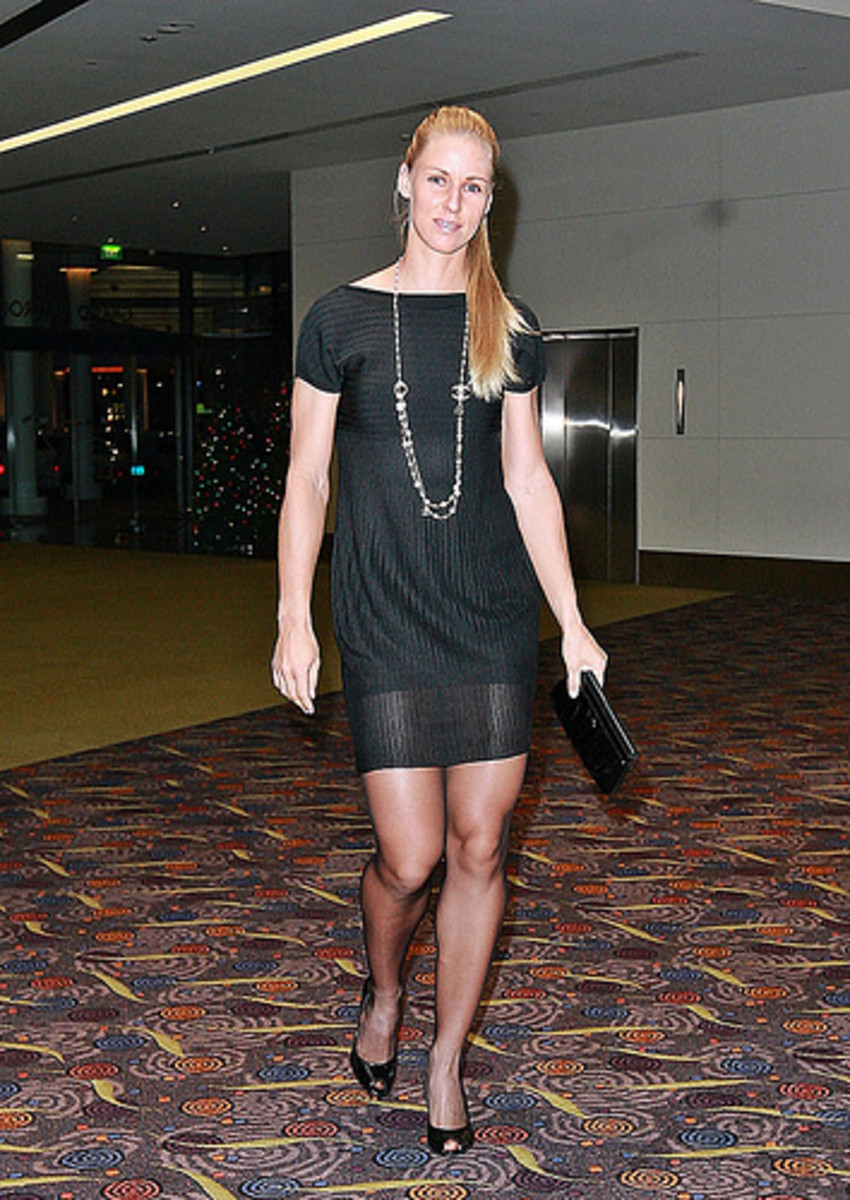 Sexy Tennis player Elena Dementieva going in a party