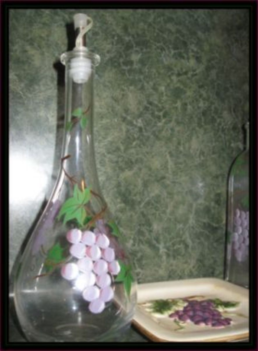 Bottle with painted grapes and vines