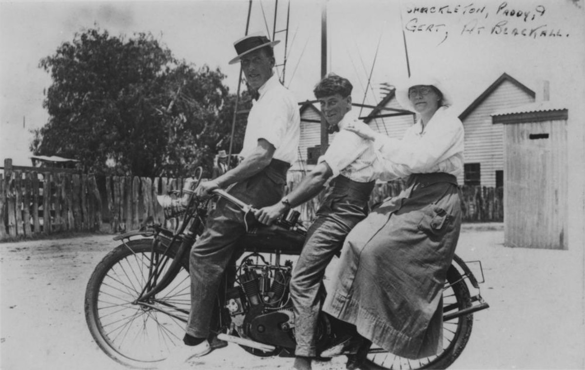 Australian picture showing rear sidesaddle passenger in long skirt.