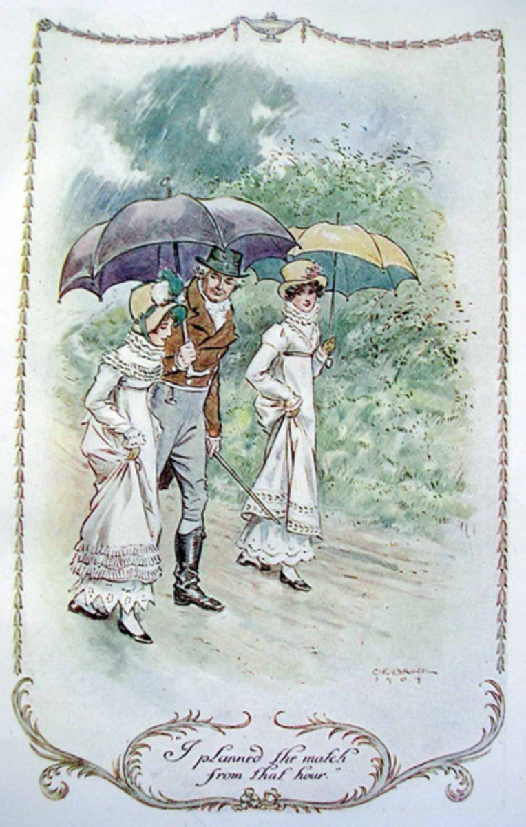 "A color illustration from Jane Austen's ""Emma,"" a classic novel."
