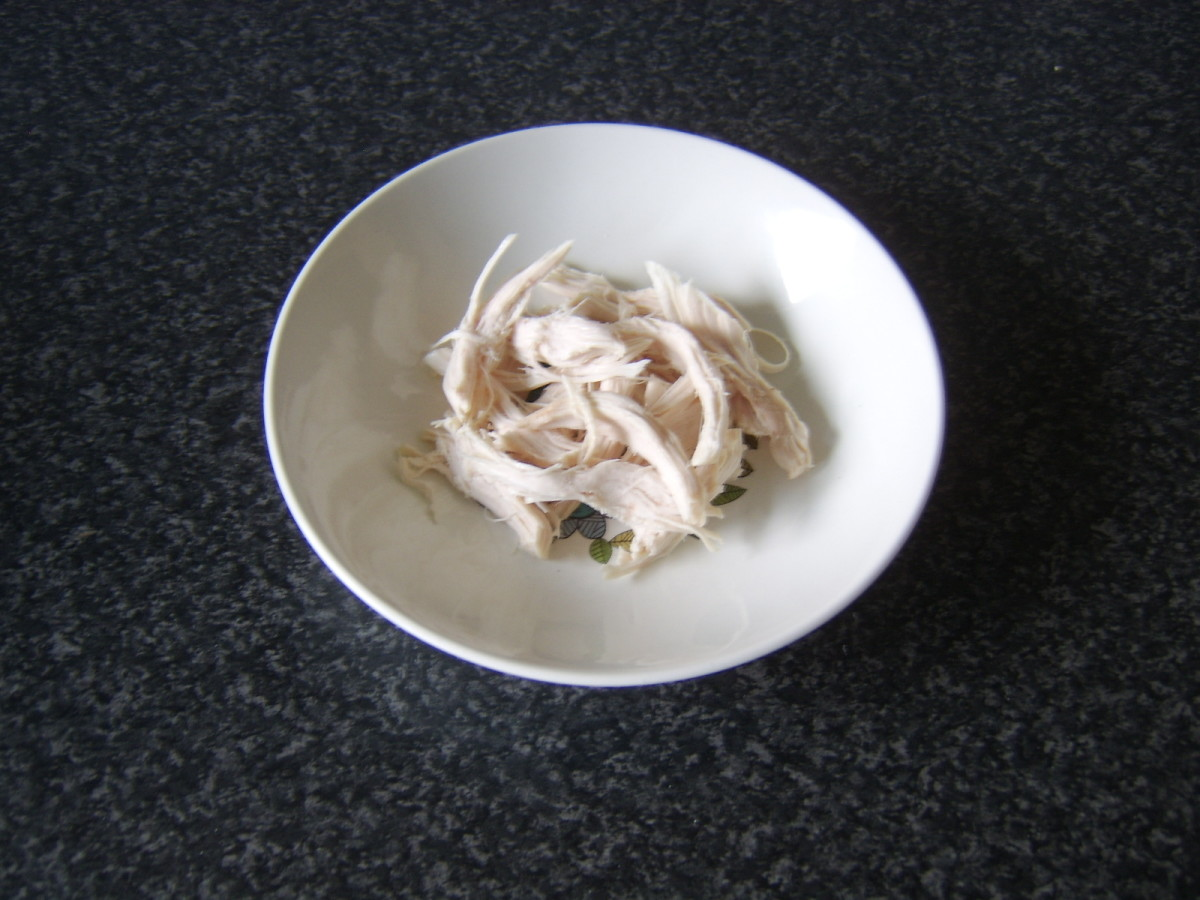 Shredded chicken breast meat for soup