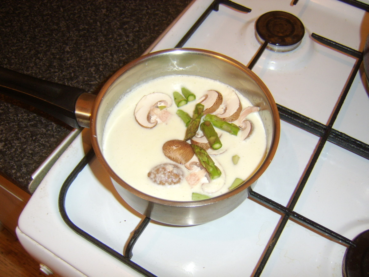 Asparagus and chestnuts are added to creamed vegetables
