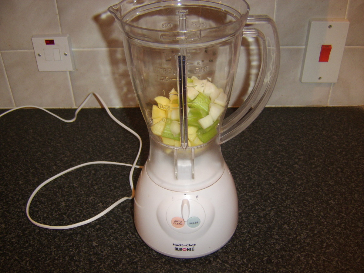 Potato, celery and onion added to food processor