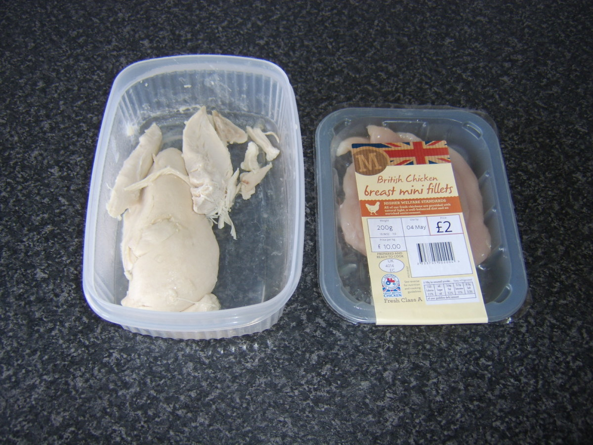 Precooked meat from a whole poached chicken and supermarket bought raw chicken can both be used in chicken soup