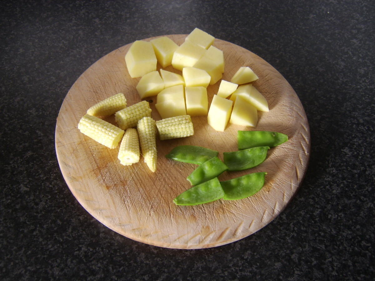 Vegetables are peeled and chopped as required for adding to soup