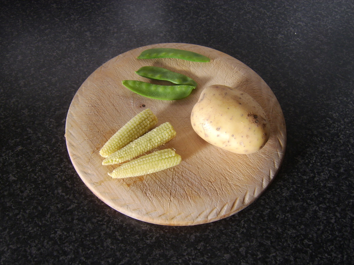 Potato, babycorn ears and mangetout