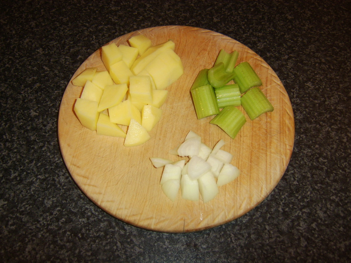 Chopped potato, celery and onion