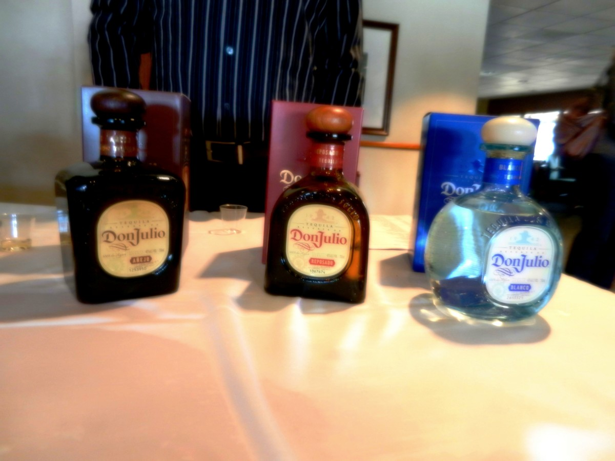 The three ages of tequila: añejo, reposado, and blanco.