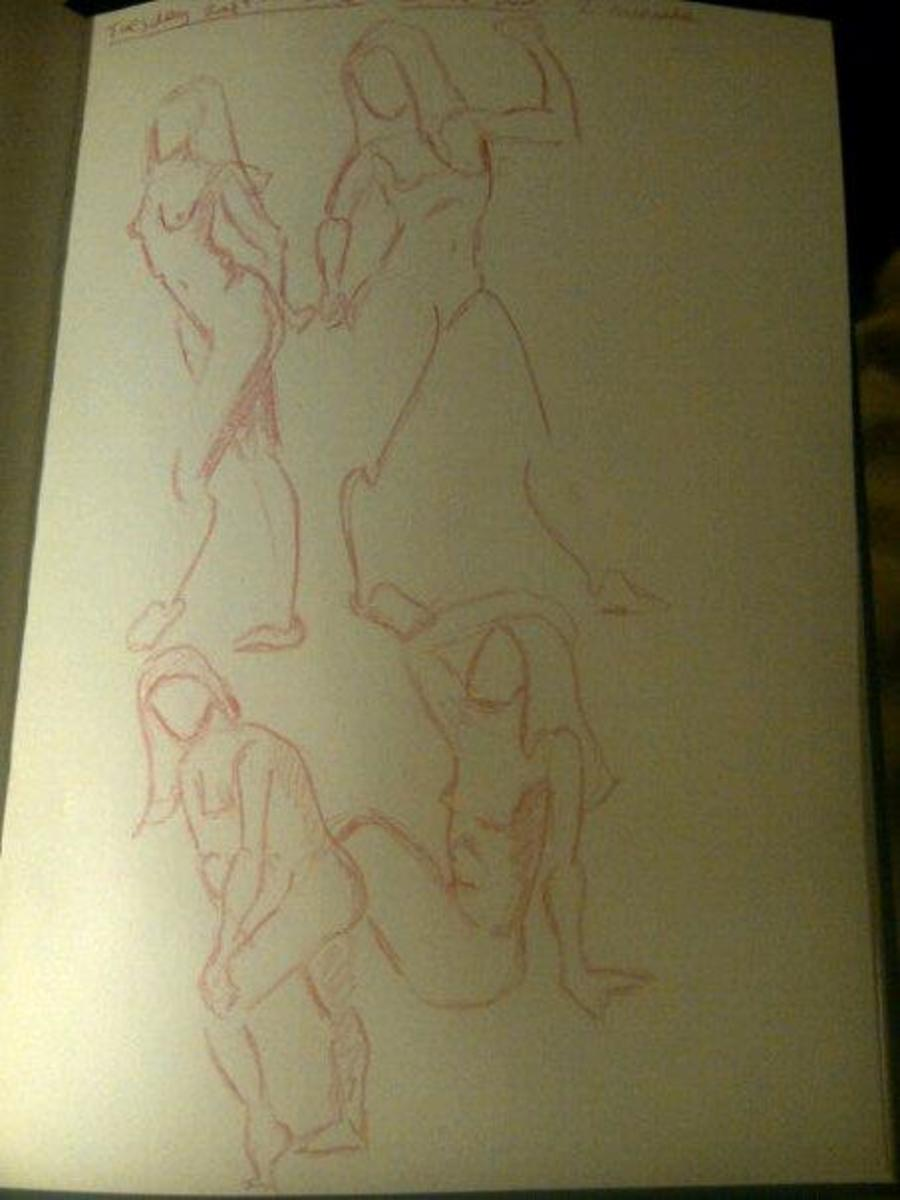 2 minute gesture drawings using drawingtutorialsononline reference material.