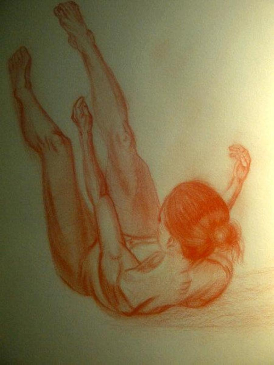 Female falling. Practice drawing using drawingtutorialsonline reference photo.