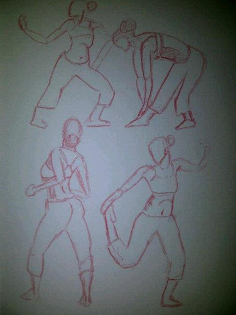 3 minute gesture drawings using drawingtutorialsononline reference material.