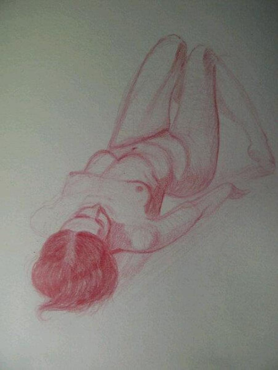 Practice female figure drawing using reference photos from Drawingtutorialsonline.com
