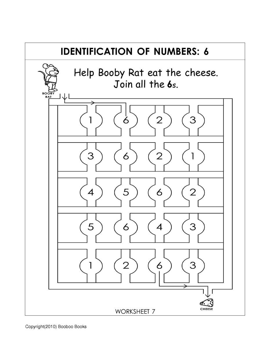 Number recognition worksheets - number maze worksheet