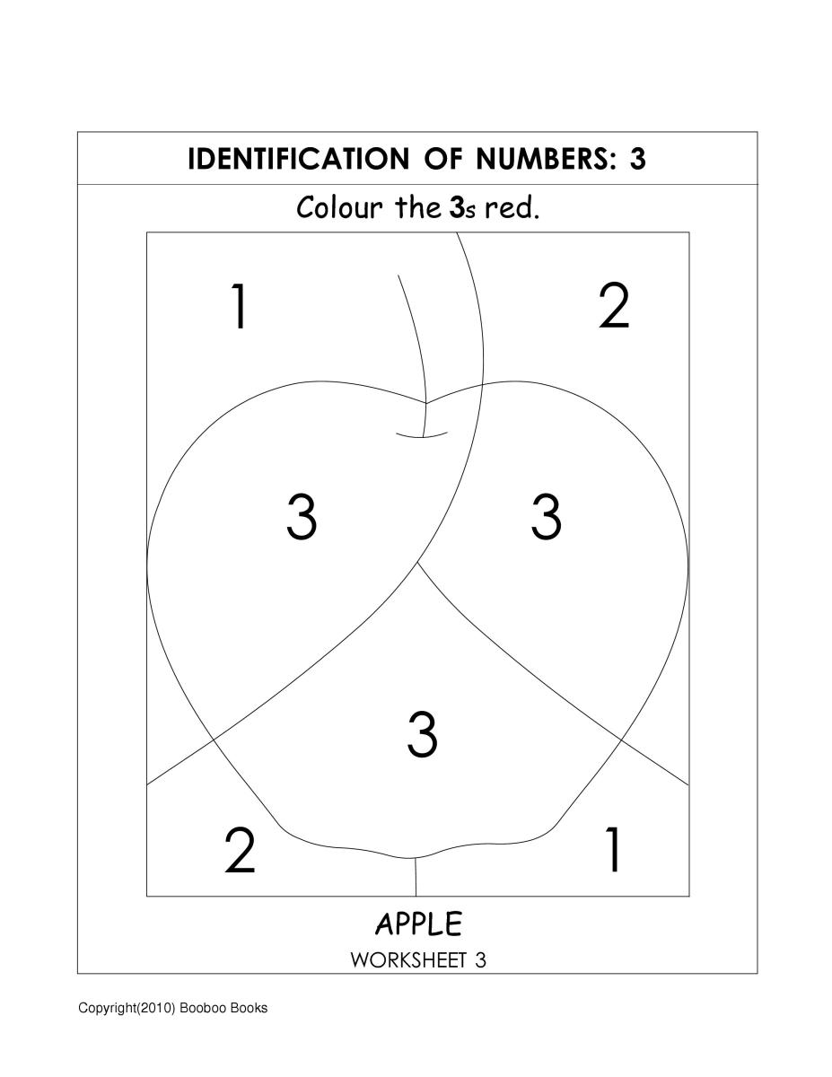 Worksheets Number Identification Worksheets number recognition worksheets activities color by 3