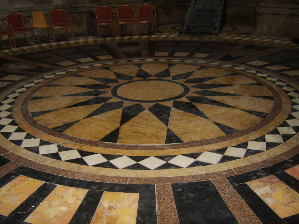 The chapel floor in Hamilton Mausoleum
