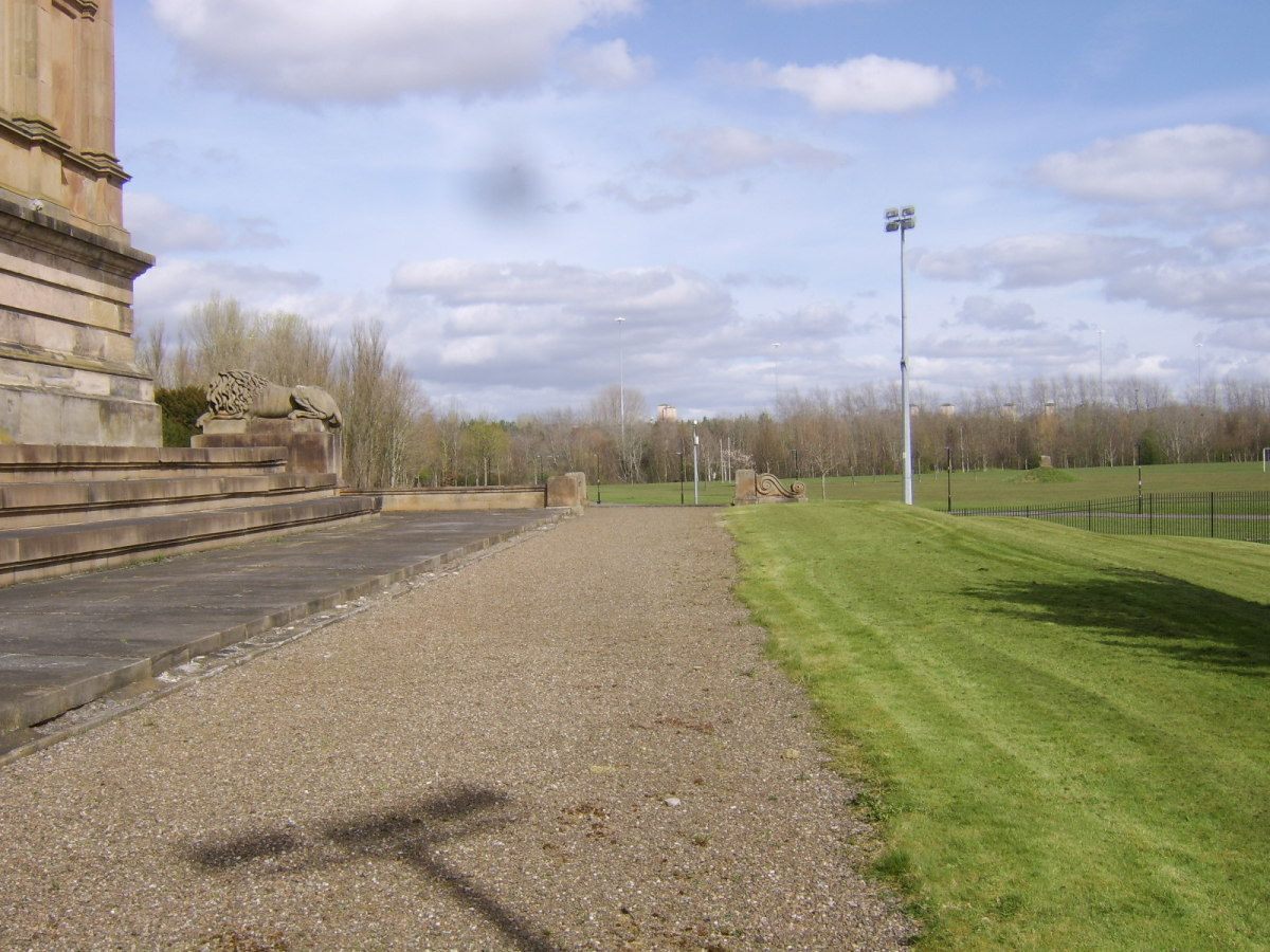 Looking east from the south side of Hamilton Mausoleum, towards the M74 and Strathclyde Country Park