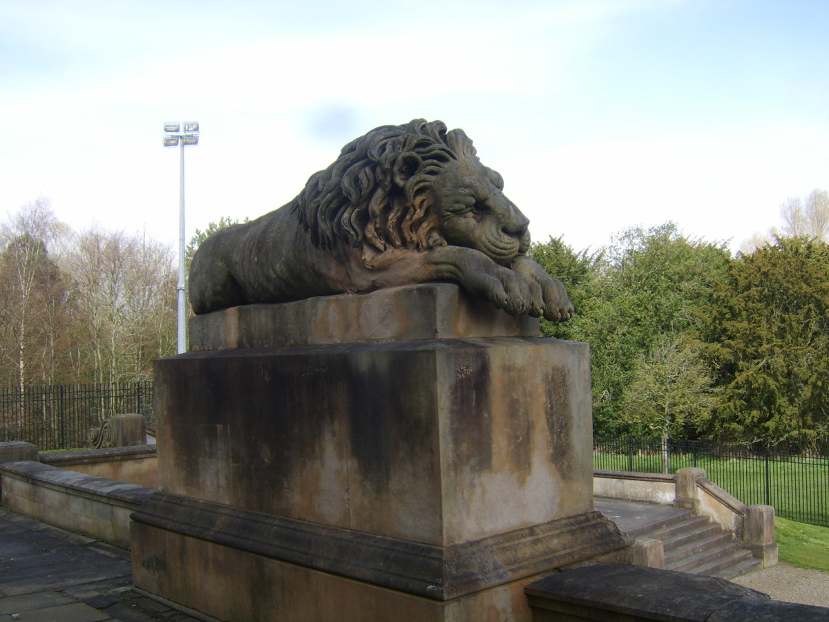 Sleeping lion at Hamilton Mausoleum