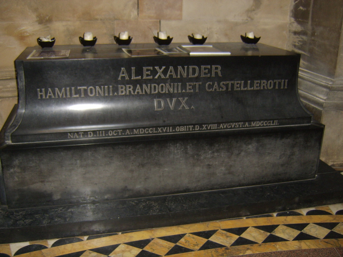 The plinth in the chapel of Hamilton Mausoleum upon which once lay Alexander, the 10th Duke's, sarcophagus