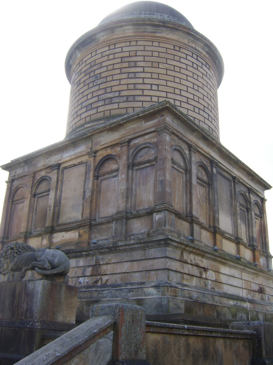 Front (east facing) and north sides of Hamilton Mausoleum from steps to the front of the building