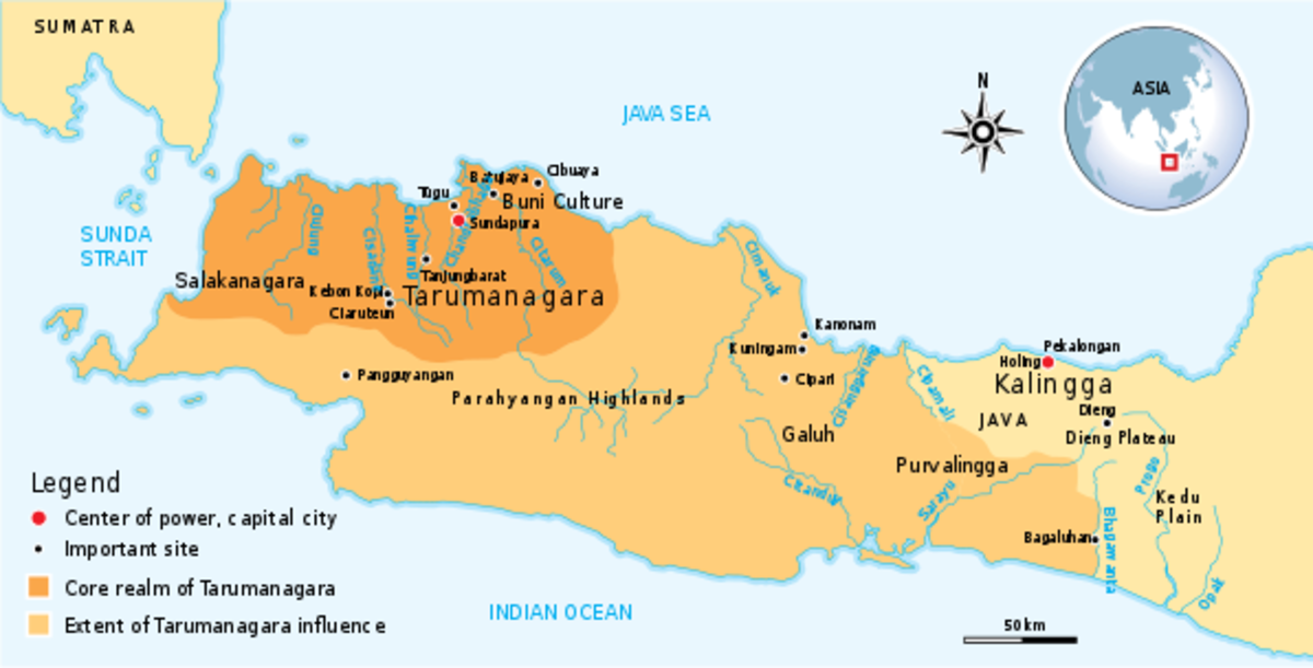 4th to 7th century Tarumanagara, the earliest Hindu kingdom in Java.