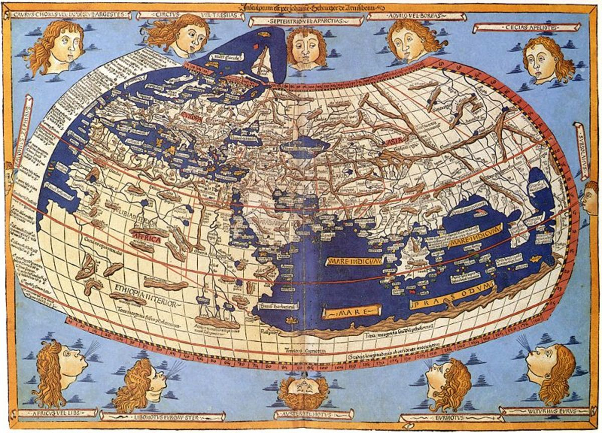 A printed map from the 15th century depicting Ptolemy's description of the Ecumene or  the inhabited universe, (1482, Johannes Schnitzer, engraver).