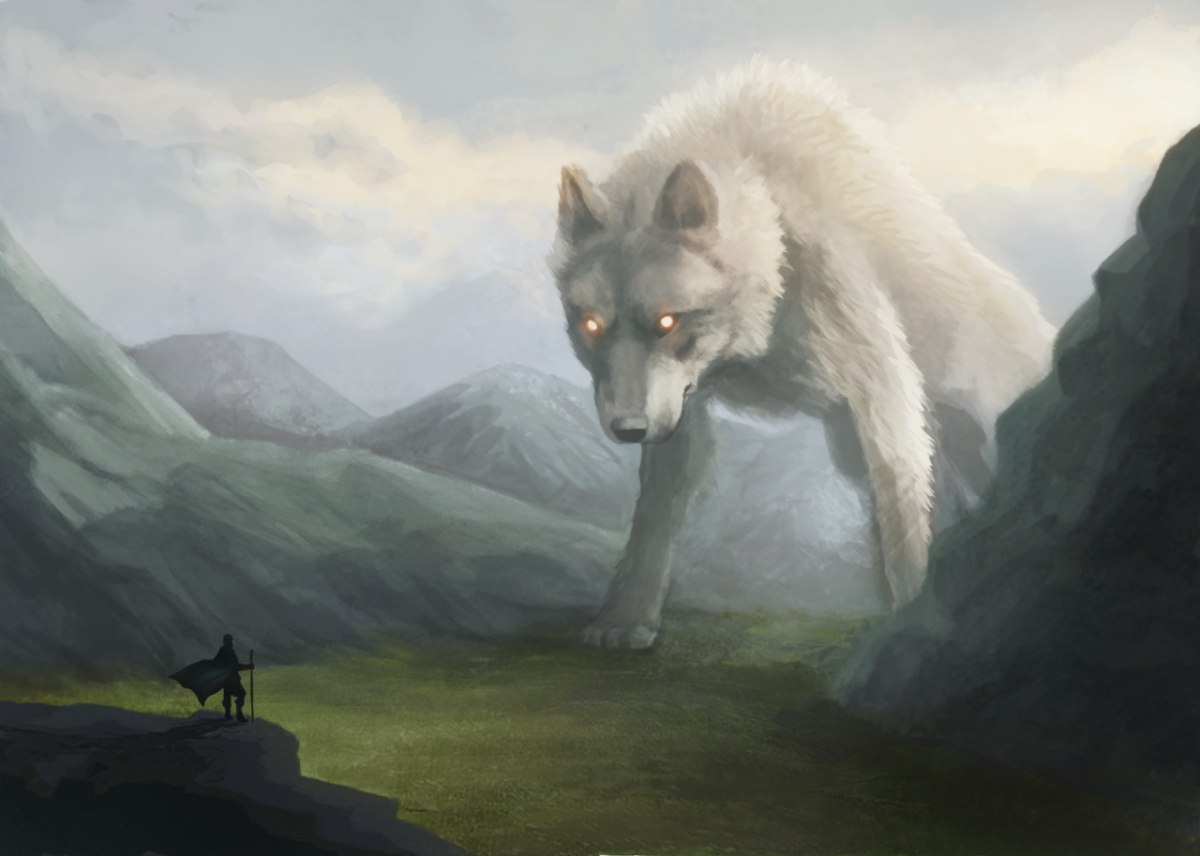 The wolf Fenrir, along with hideous Hel and the world serpent Jormungand, Loki's three little monsters fathered on the giantess Angrboda ('Grief-bringer') and cursed by the Allfather