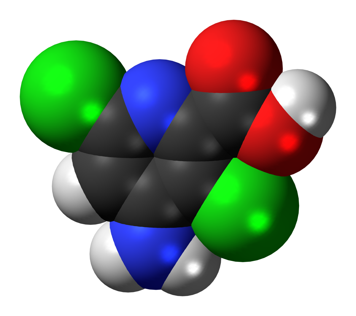 Model of the aminopyralid molecule, a herbicide created by Dow AgroScience.
