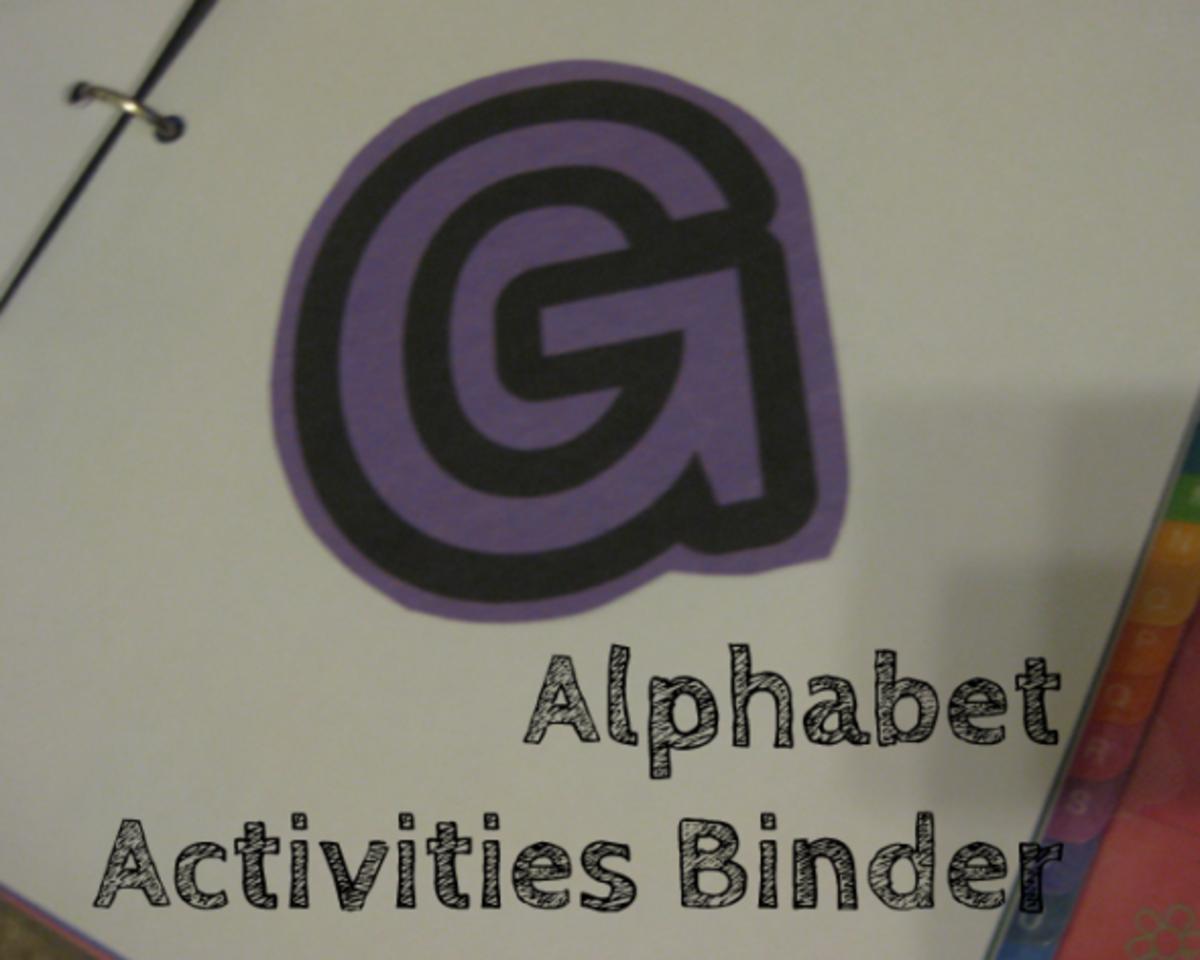 G binder alphabet activies for kids