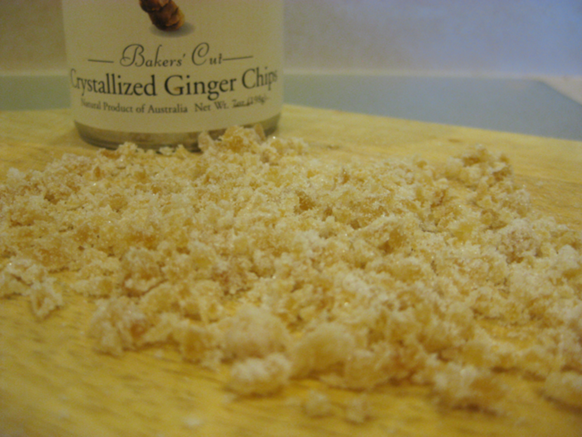 The chopped crystallized ginger chips.