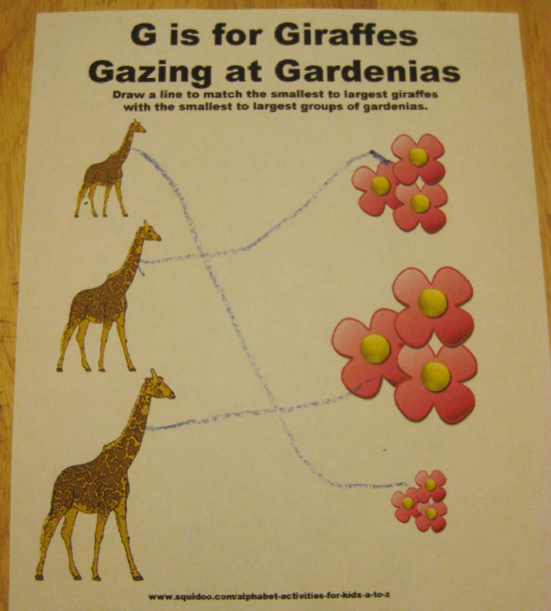 g is for giraffes gazing at gardenias alphabet activities for kids