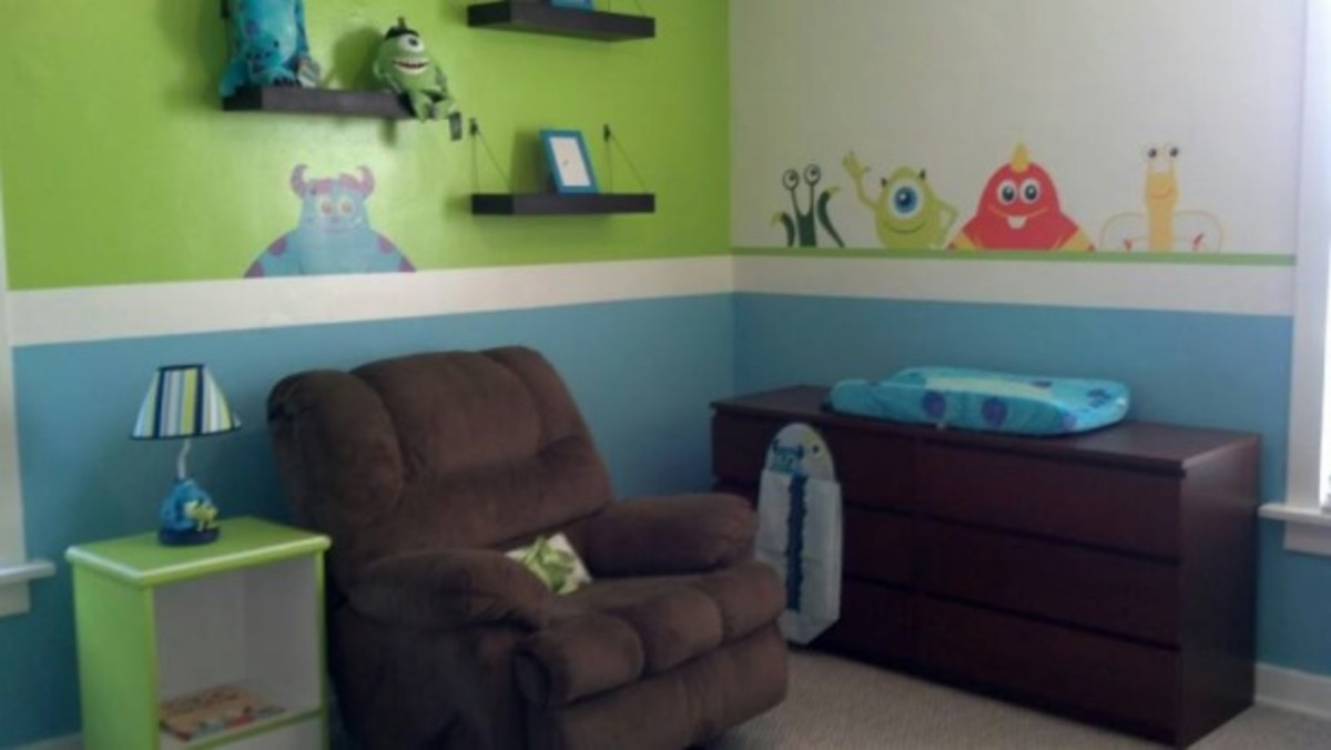 As you can see a little paint & wall decals make this room feel totally custom!