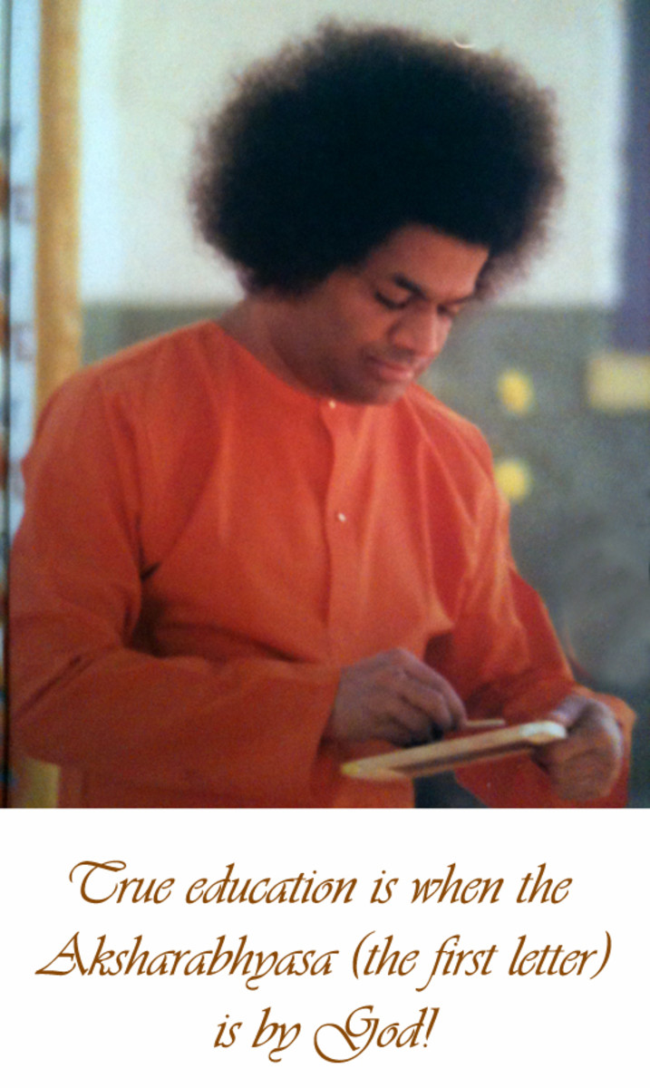 "Swami writing the sacred syllable ""Aum"" for a child beginning education."
