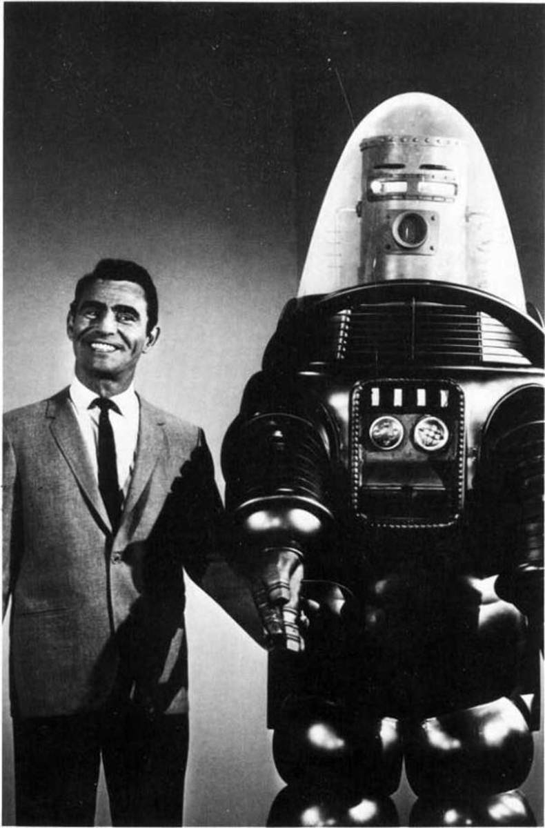 Rod Serling and Robby the Robot with humanoid head