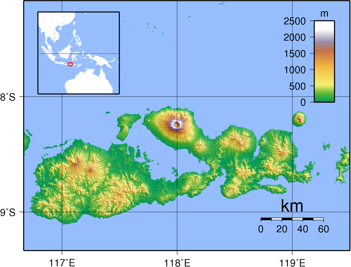 Topographic map of Sumbawa, Indonesia