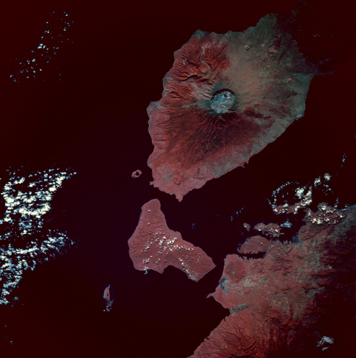 Infrared image of Mount Tambora, Sumbawa Island, Indonesia. Taken from the space shuttle Endeavour