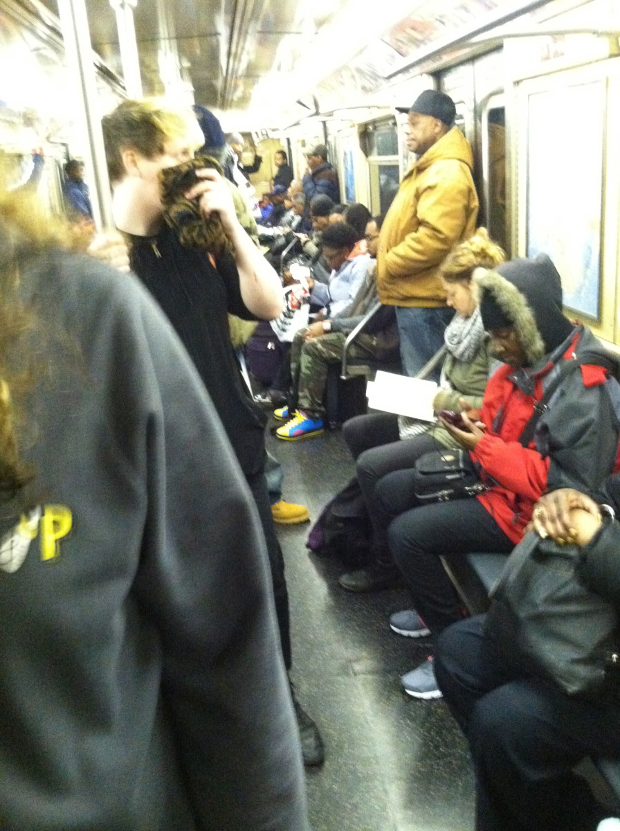 Extroverts like to strike up conversations with strangers on the train. (Subway, NYC)